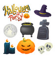 set of doodle elements for halloween holidays vector image vector image