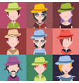 set of people icons with faces vector image vector image