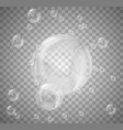 set of realistic bubbles on transparent background vector image