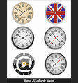 time and clock set vector image vector image