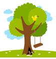 tree swing in garden vector image vector image