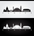 venice skyline and landmarks silhouette vector image