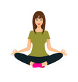 woman doing yoga in lotus position front view vector image