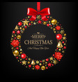xmas postcard with wreath and text vector image vector image