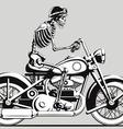 Vintage Skeleton Biker Silhouette vector image