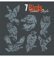 Birds in tribal style set vector image