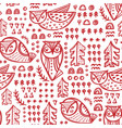 abstract owls hand drawn seamless pattern vector image