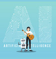 ai robot and guitarist design vector image vector image