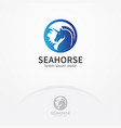 blue seahorse logo design vector image vector image