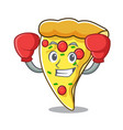 boxing pizza slice character cartoon vector image