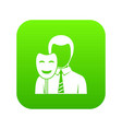 businessman holding smile mask icon digital green vector image