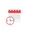 calendar and clock icon schedule in flat style vector image vector image