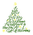 calligraphy lettering christmas tree with stars vector image vector image
