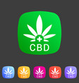 cbd marijuana cannabis icon flat web sign symbol vector image