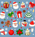 christmas seamless pattern on blue vector image vector image