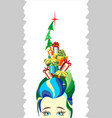 christmas tree woman girl hairstyle gifts vector image vector image