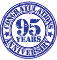 Cogratulations 95 years anniversary grunge rubber vector image vector image