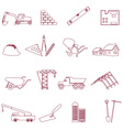 construction and work simple outline icons set vector image vector image
