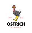 cute ostrich cartoon logo icon vector image vector image