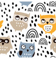 cute owls seamless pattern vector image vector image