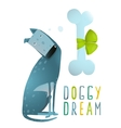 Dog Sitting Dreaming of Bone with Green Ribbon vector image vector image