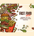 fast food background for menu vector image vector image