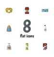 flat icon food set of canned chicken tin tuna vector image vector image
