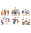 friends spending time together partying people vector image vector image