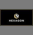 gf hexagon logo design inspiration vector image vector image