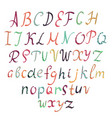 hand-drawn alphabet isolated on white background vector image