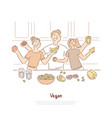 happy people on kitchen mother father vector image