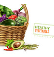 healthy vegetables in basket vector image vector image