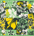 hibiscus flowers fabric patchwork wallpaper vector image vector image