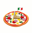 Italian pizza Cheese in form of a silhouette map vector image