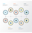 media icons colored line set with volume up vector image vector image