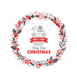merry christmas wreath with text white background vector image vector image
