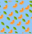 orange lemon on blue background seamless pattern vector image vector image