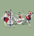 pinup girls band four beautiful and tattooed vector image vector image