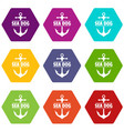 pirate anchor icons set 9 vector image vector image