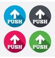 Push sign icon Press arrow symbol vector image