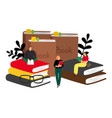 reading concept with cartoon characters vector image