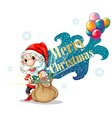 Santa with a brown bag full of gifts vector image vector image