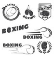 set boxing club emblems boxing gloves vector image