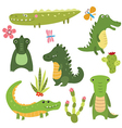 Set funny crocodiles vector image