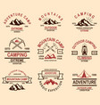 set mountain hiking emblems design element for vector image vector image