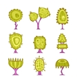 Set of cartoon stylized tree icons vector image vector image
