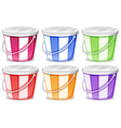 Six colorful pails vector image vector image