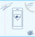 smartphone with heart rate monitor function line vector image