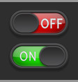 toggle switch buttons on and off red and green vector image vector image