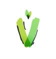 v letter ecology logo with green leaves